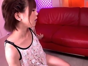 Petite pretty Japanese doll Saki Ninomiya with natural boobies and arousing