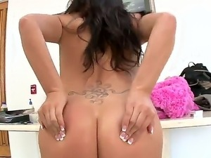 The remarkable brunette Asian pornstar London Keyes sucks a cock and fucks