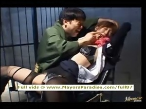 Chihiro Hara innocenttied up in jail and gets a sex train