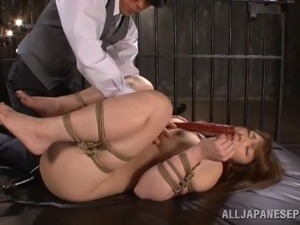japanese slut gets a thick stick in her face