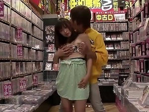 Sexy Asian babe Yukiko gets naughty and enjoys a steamy bang in a public store