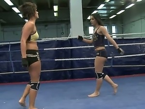 Sexy boxing babes get into an erotic nude fight as they struggle to achieve