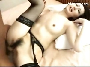Slim Girl In Sexy Linggerie Sucking Guys Cock Getting Her Pussy Fucked On The Bed