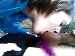 Teen swallows my cum in forest!