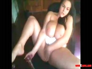 Miss Voluptuis Masturbating And Milking
