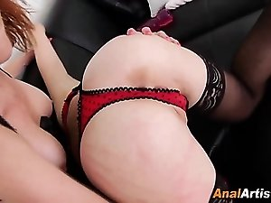 Lingerie clad lesbo ass toyed