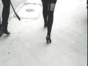 Candid #20 Girl in mini skirt, sexy pantyhose and high heels