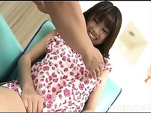Sweet Ririka Suzukis big tits are teased in an interview with a horny producer