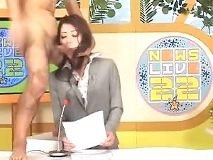 Japanese milf newsreader  bukkake show
